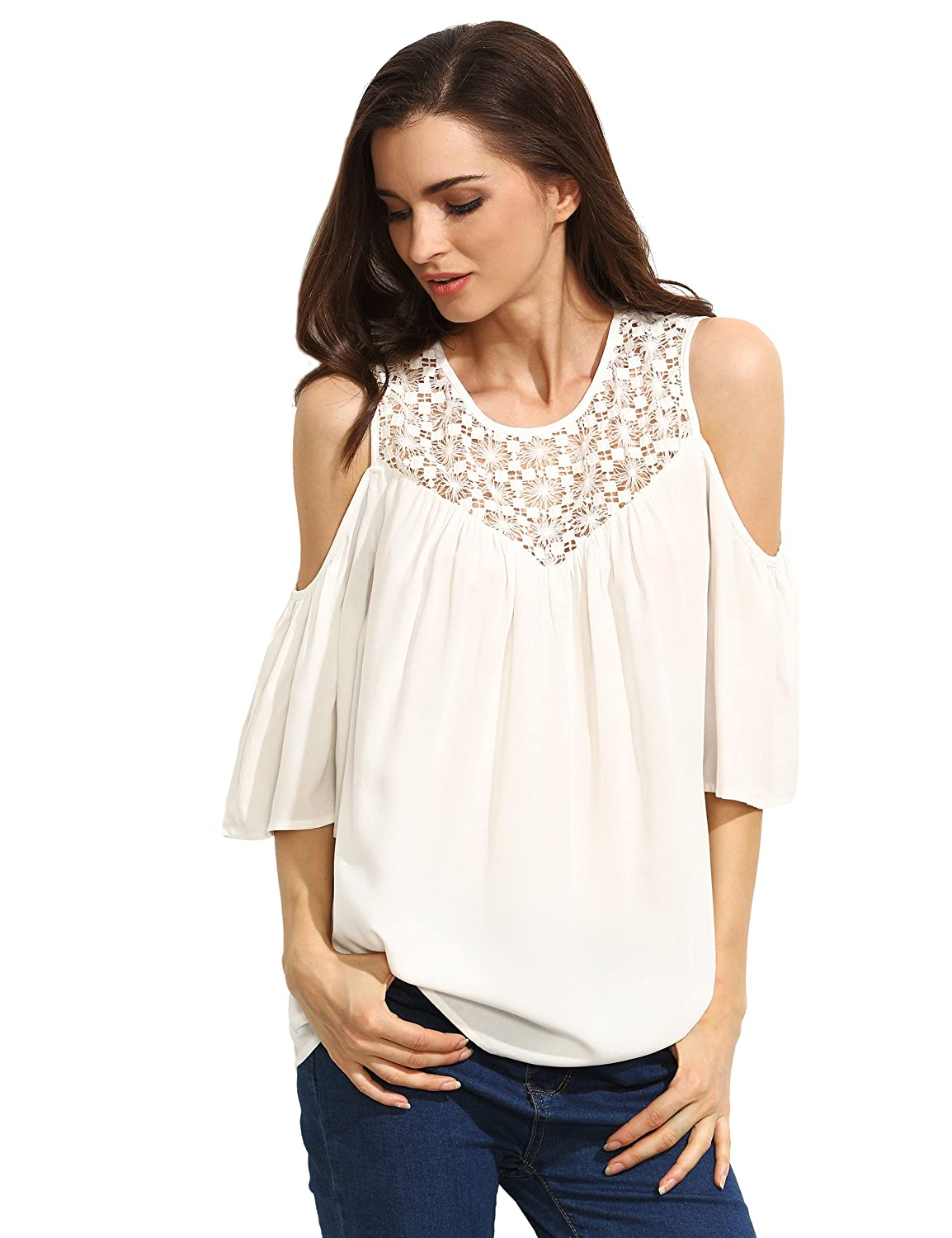 7c409b8381f Floerns Women s Casual Cold Shoulder Crochet Lace Hollow Out Tops Blouse  85%OFF