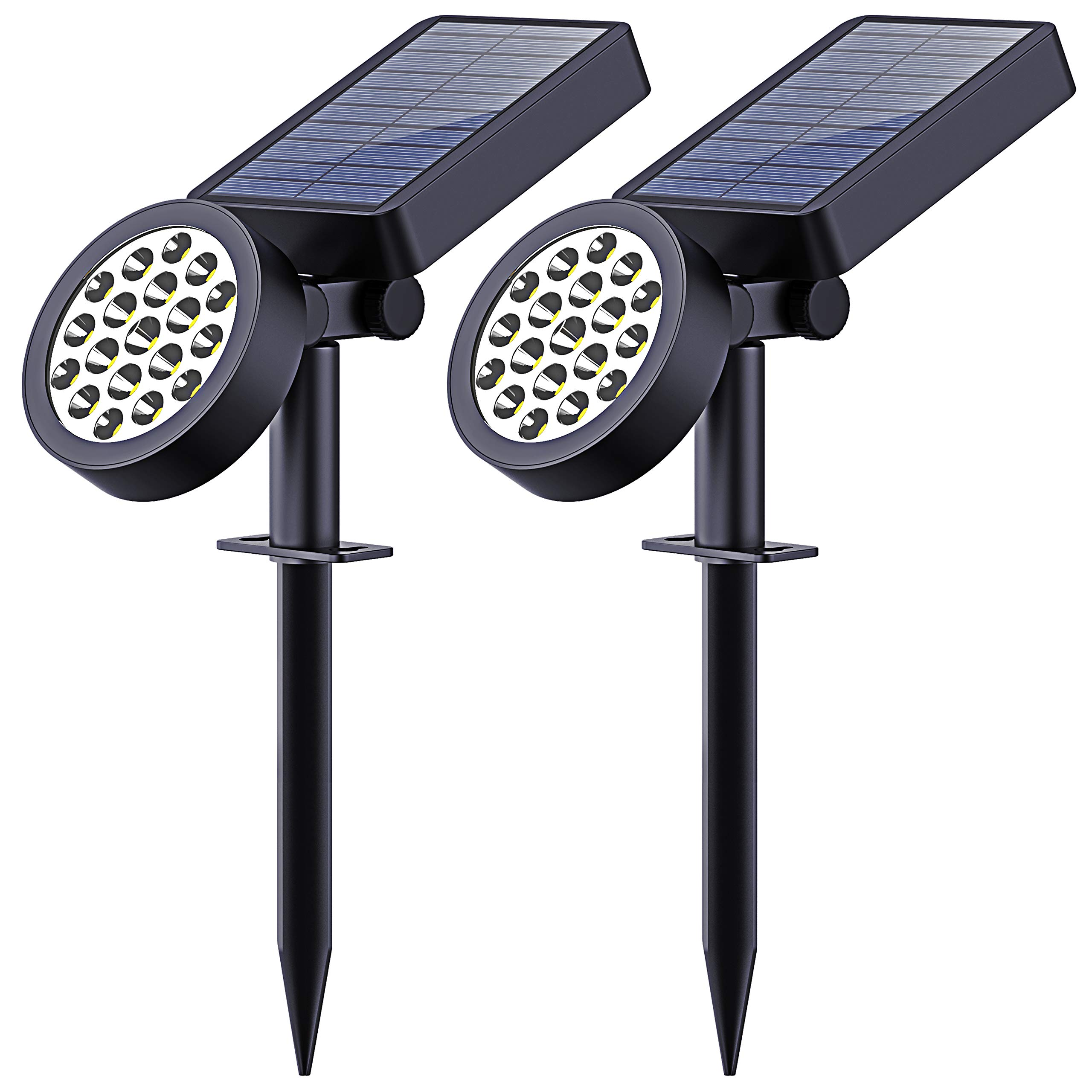 Solar Yard Lights Outdoor,19 LED Bulbs Solar Landscape Spotlights-Waterproof Outdoor Adjustable Wall Light Security Lighting Dark Sensing Auto On/Off for Patio Lawn Pool Yard Garage Garden, Pack of 2 by LEKNES