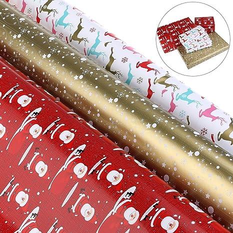 Regali Di Natale Di Carta.Laribbons Set Di Carta Da Regalo Per Regali Di Natale 3 Rotoli 70 X 305 Cm Per Rotolo