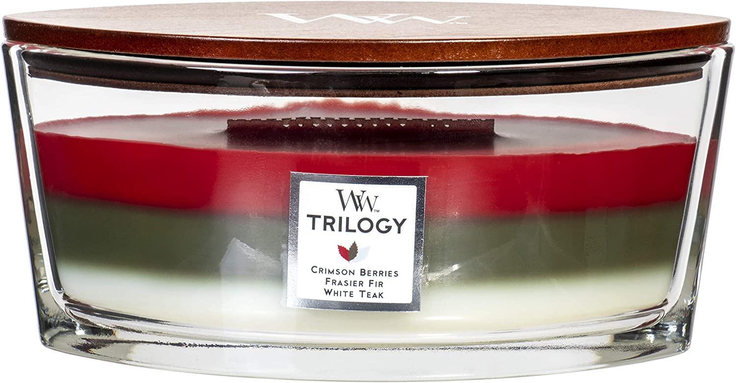 WoodWick Trilogy Winter Garland - Crimson Berries, Frasier Fir, White Teak Scented Crackling Wooden Wick Candle in Glass Vessel