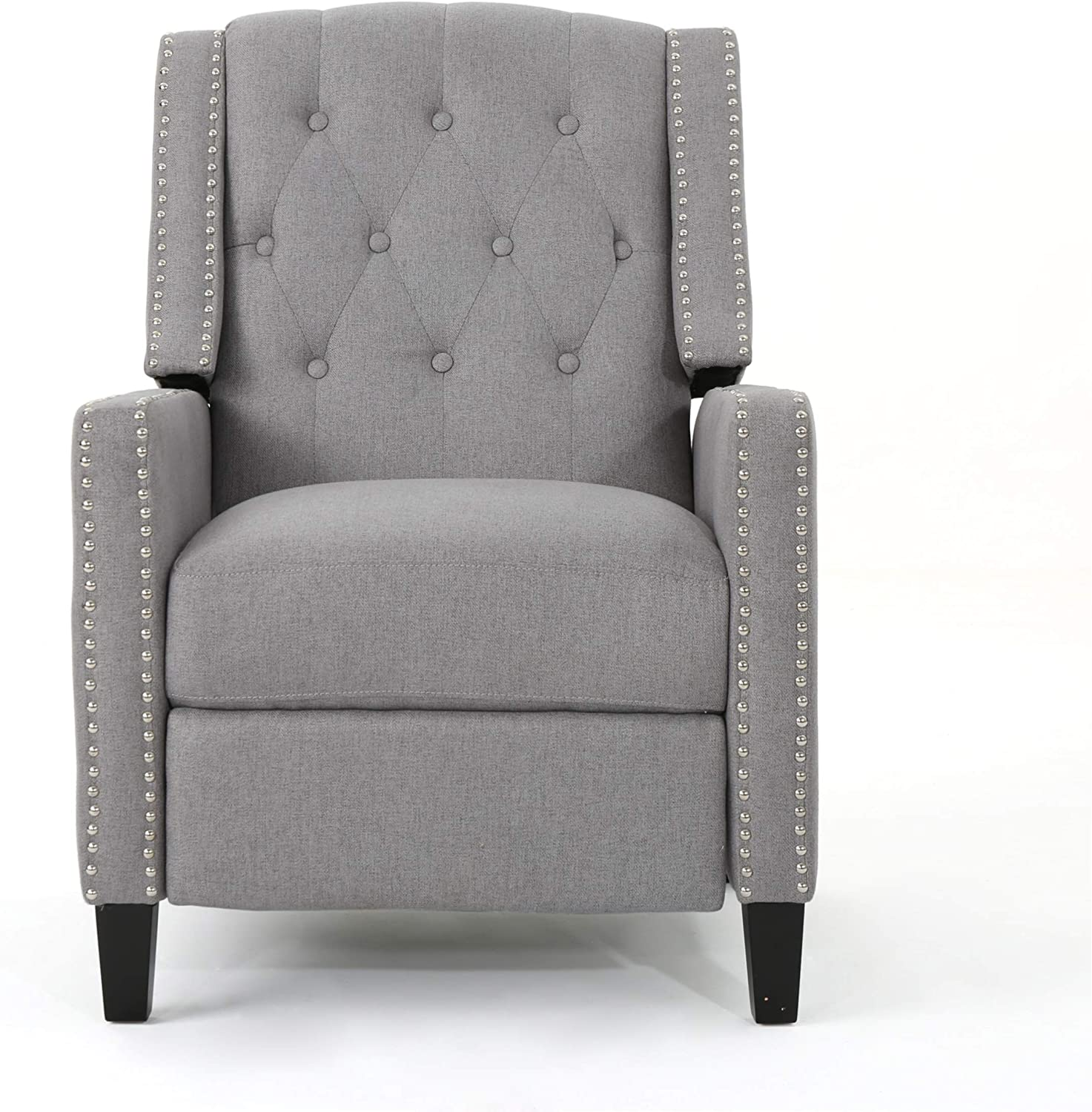 Christopher Knight Home Deirdre Traditional Winged Fabric Recliner, Navy Blue / Dark Brown
