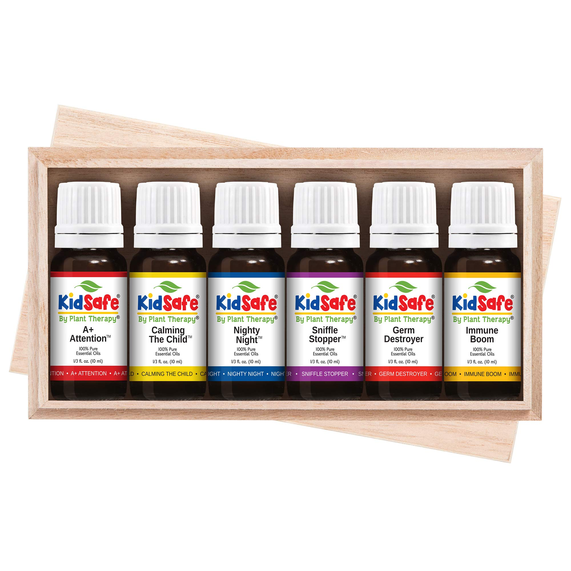 Plant Therapy Essential Oils KidSafe Starter Set for Focus, Calming, Sleep, Immune Support 100% Pure, 6 Undiluted Blends, Natural Aromatherapy, Therapeutic Grade 10 mL (1/3 oz) by Plant Therapy