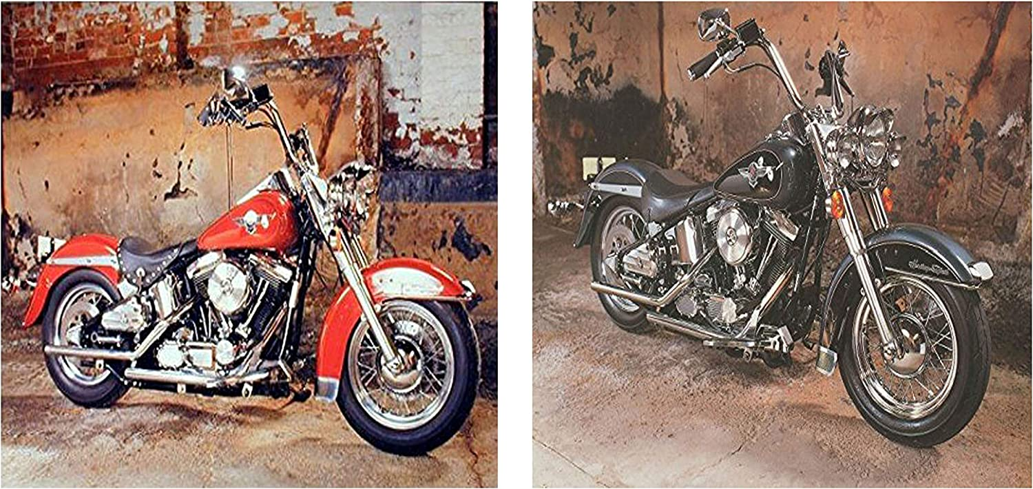 Harley Davidson Red And Black Motorcycle Vintage Two Set Wall Decor Art Print Poster (8x10)