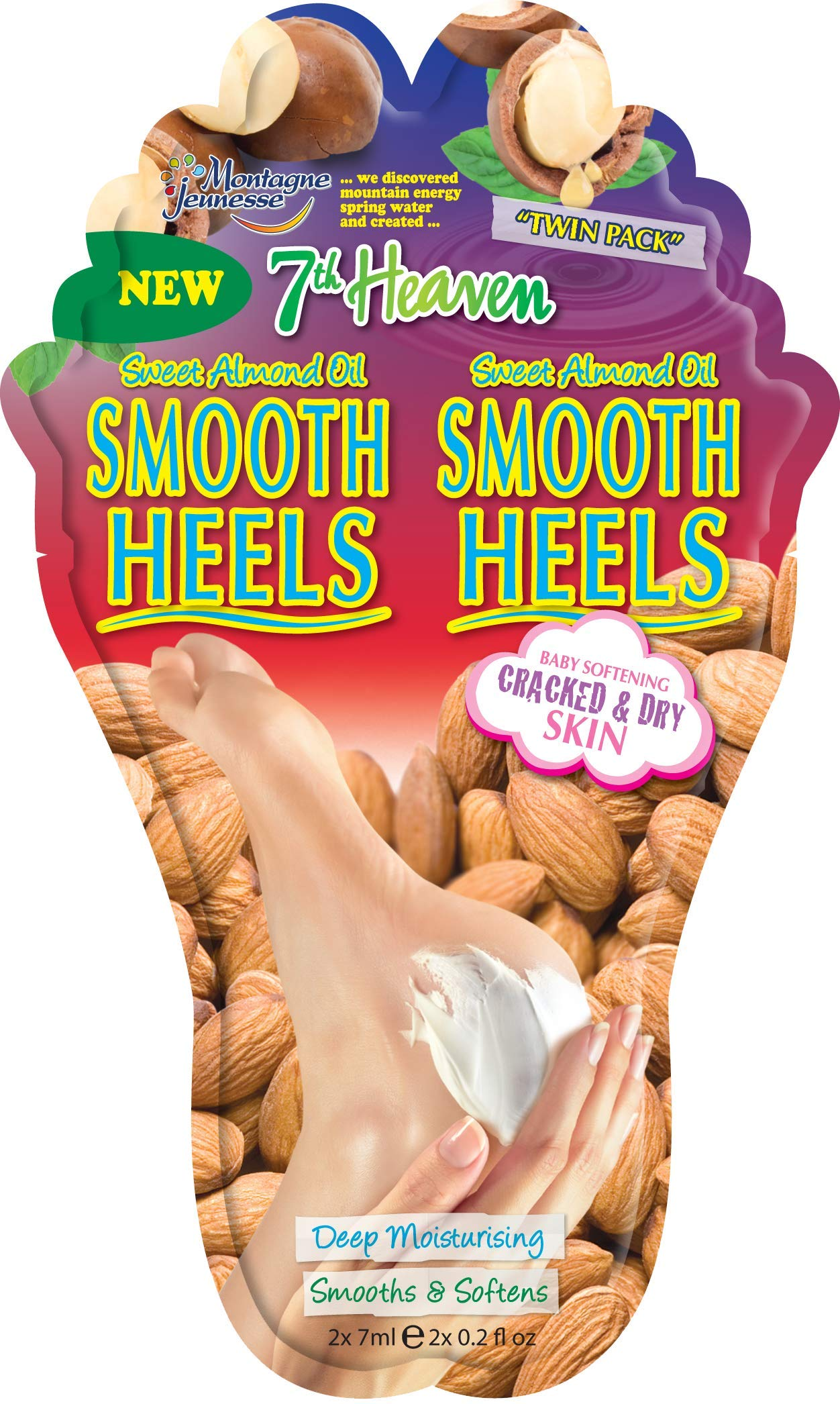 7th Heaven 'Smooth Heels' Nourishing Foot Balm with Sweet Almond Oil and Shea Butter to Deeply Moisturise, Smooth and Soften Cracked and Dry Feet