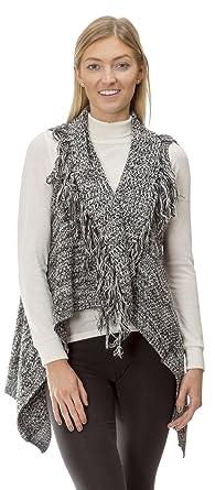 16210R) Love by Chelsea Long Fringe Cotton Blend Sweater Vest Wrap ...