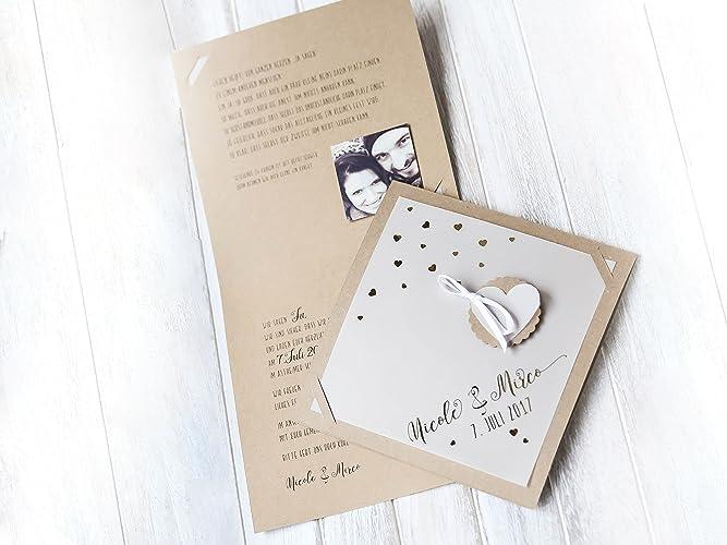 10 Stuck Einladungen Karte Hochzeit Vintage Natur Amazon De Handmade
