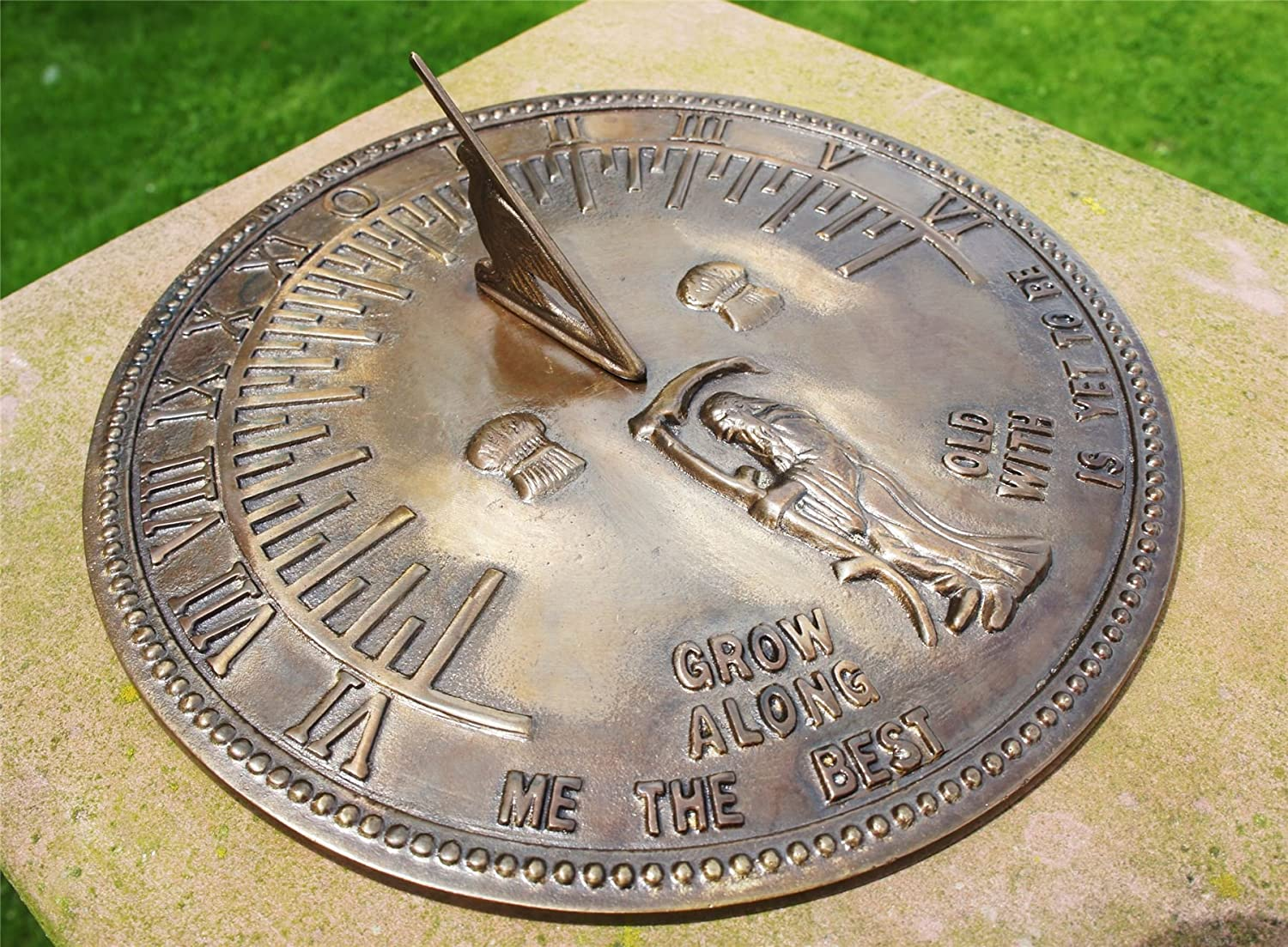Antique Solid Brass 'Old Father Time' Ornamental Sundial (287 mm Diameter) Black Country Metal Works