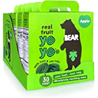 BEAR - Real Fruit Yoyos - Apple - 0.7 Ounce (30 Count) - No added Sugar, All Natural, non GMO, Gluten Free, Vegan…