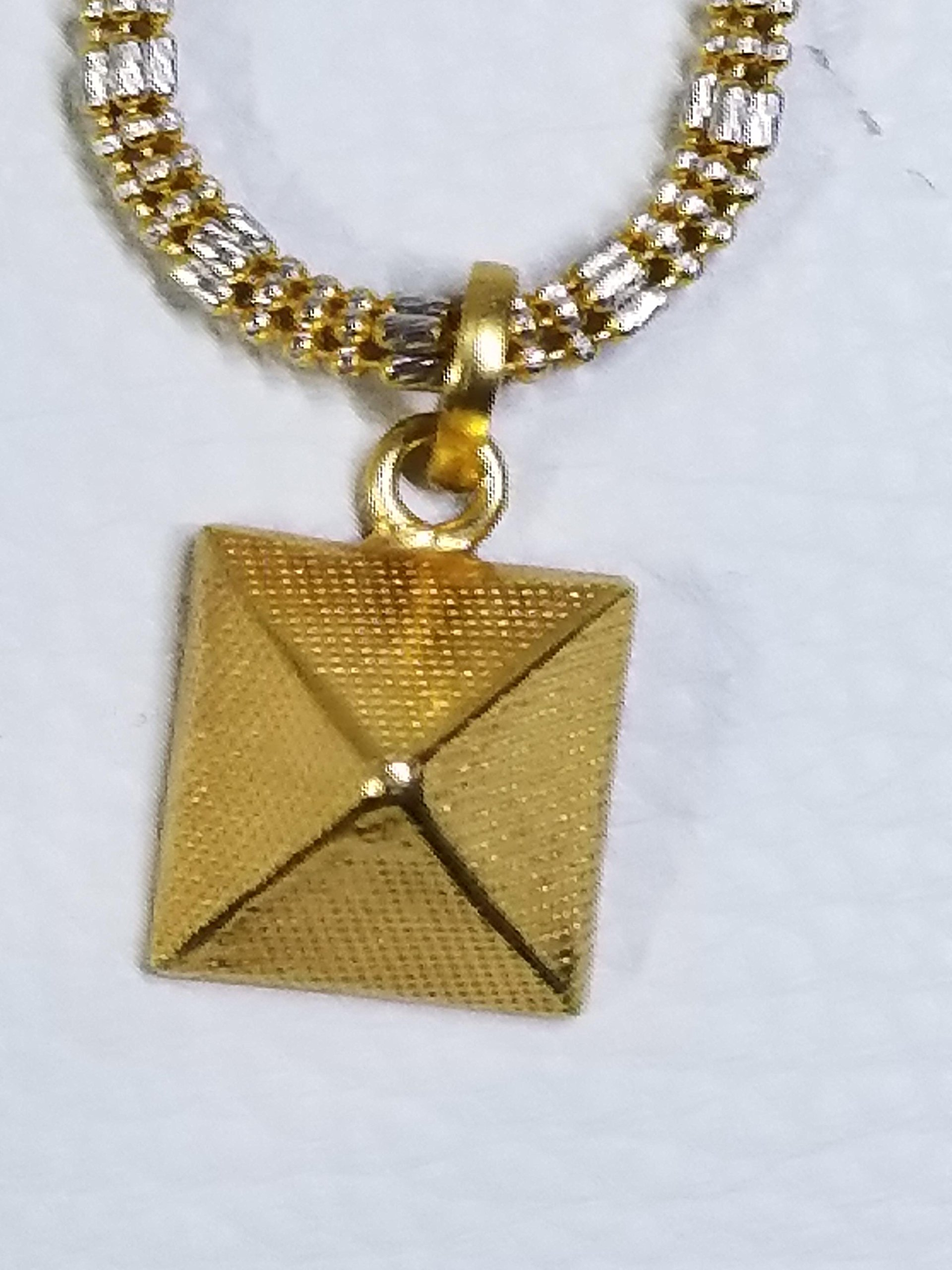 Wellness Goodies 22K Gold Pyramid Pendant | Increase and attract positive energies | Improve your mental, physical, emotional, social and financial health |