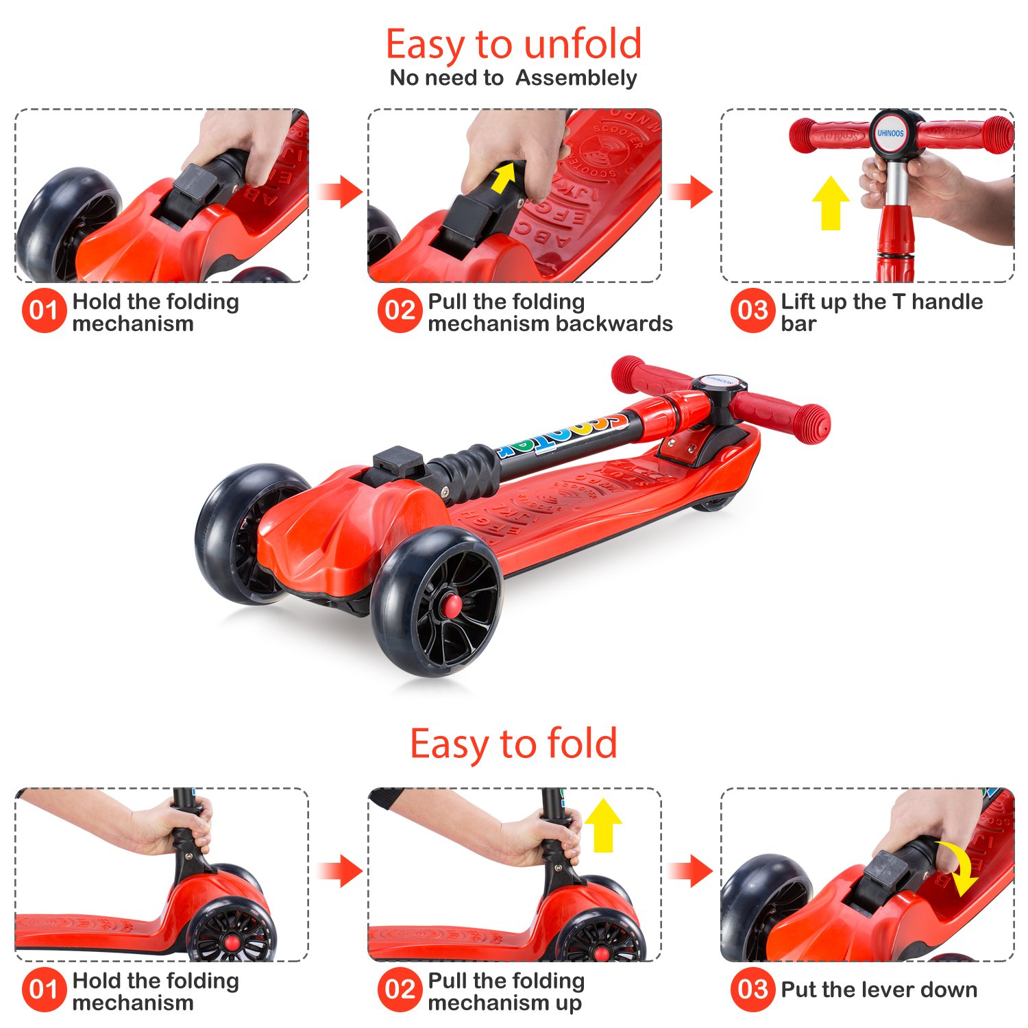 UHINOOS Kick Scooter for Kids/&Toddlers-4 Adjustable Height 3 Wheel Scooters for Kids-Flashing Wheels Foldable Kids Scooter Best Gifts for Children from 3-12 Years Red UHINOOS-18