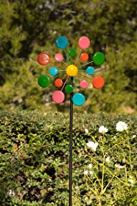 Alpine Corporation JUM120 Multi-Color Metal Circles Windmill with Stake & Fence Topper, Multi Color