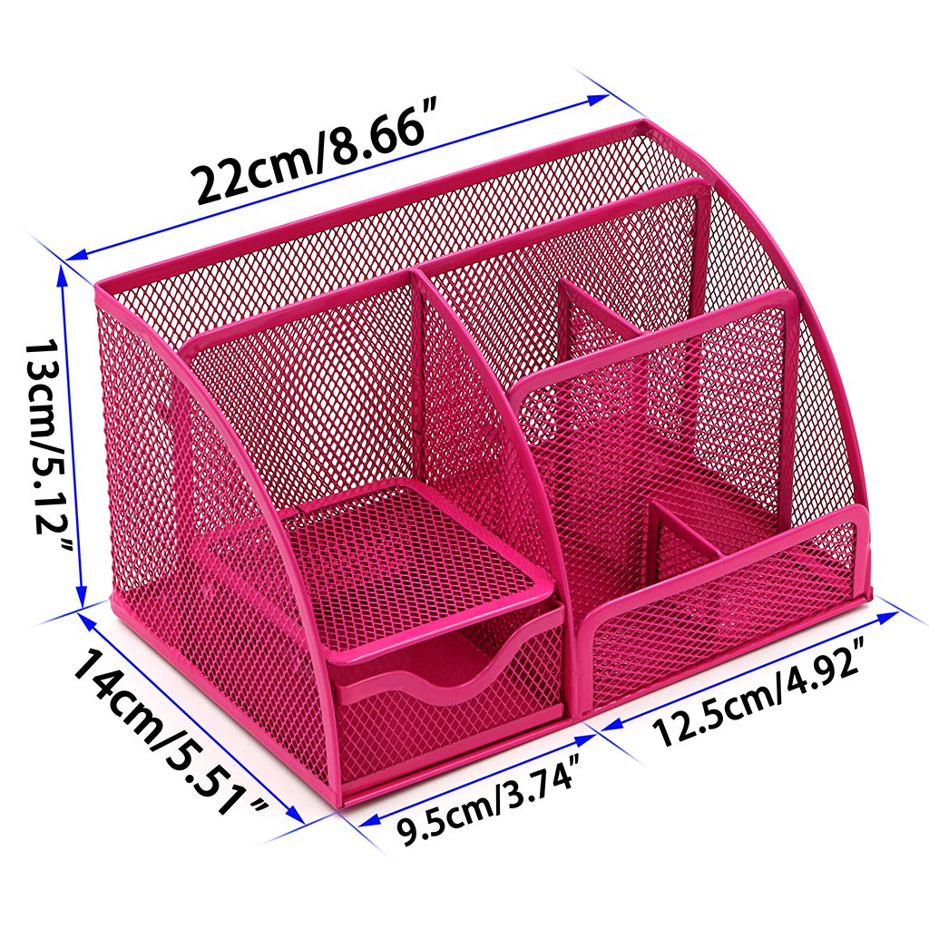 Office Tidy Organiser Space Saving Stuff Storage Container Caddy with Drawer BTSKY 6 Components Office Supply Holder Metal Mesh Desktop Supplies Organizer Green