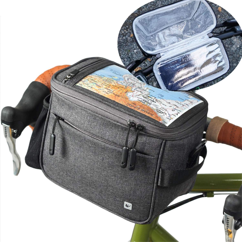 Asvert Bolsa Bici Manillar Ajustable de Bicicleta con Pantalla Transparente para M/óvil o Tableta mapas y GPS,Tambien es un Bolso Bandolera,Dos en uno