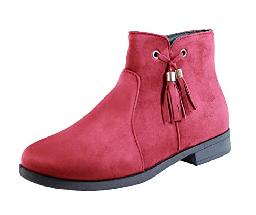 HOT Fashion Women Suede Chelsea Ankle Boots Zip Flats Heels red Colors Shoes