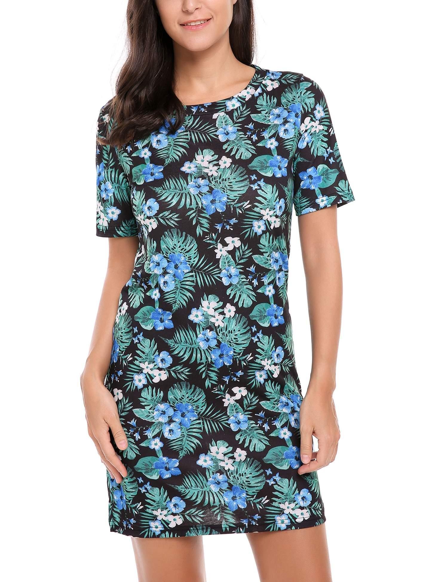 Zeagoo Women's Floral Printed Short Sleeve Summer Casual T-Shirt Mini Dresses (Blue,XL)