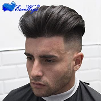 Eseewigs Quiff Hair Mens Toupee Hairpiece Straight Human Wig Low Density Breathable Natural Color Lace