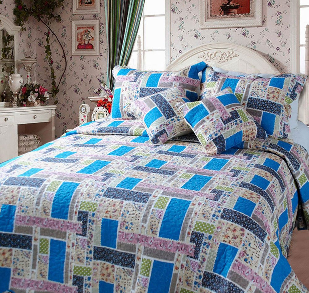 Colorful Cotton Patchwork 5-Piece Quilt Set, King, Blue