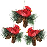 """Northlight Pack of 3 Red Cardinal Birds on Pine Cones Christmas Ornaments 5"""""""