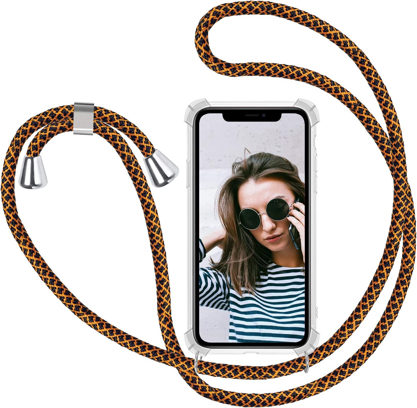 Oro Negro Funda para Cuerda Samsung Galaxy S6 Edge Carcasa Transparente de Correa Colgante Collar Ultrafino Ultraligero Moda Practico Silicona TPU Gel Case Anti-Choque Anti-rasgu/ños