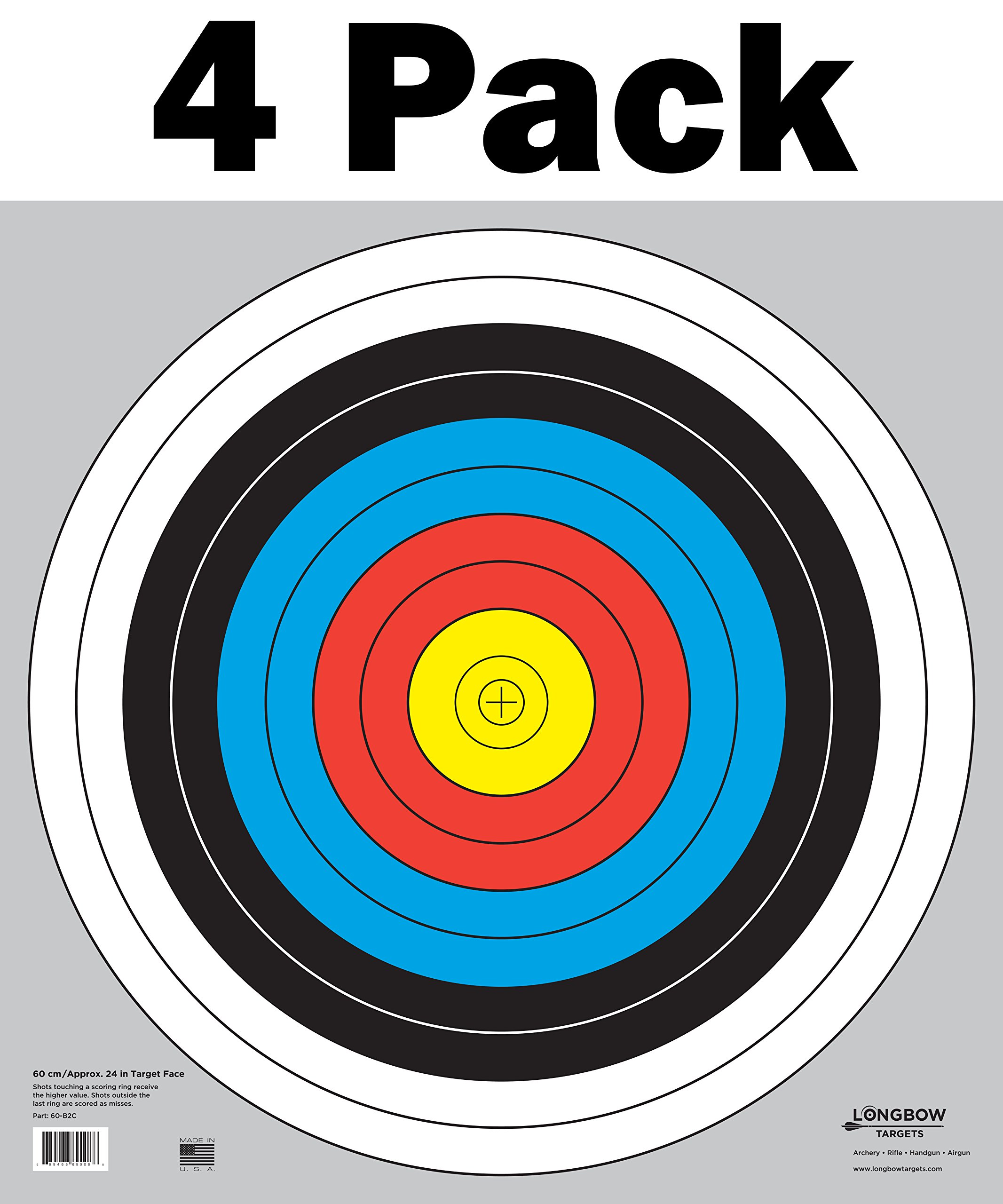 60 cm / 24 in Bullseye Archery (10 Ring) and Gun Targets by Longbow Targets (4 Pack)