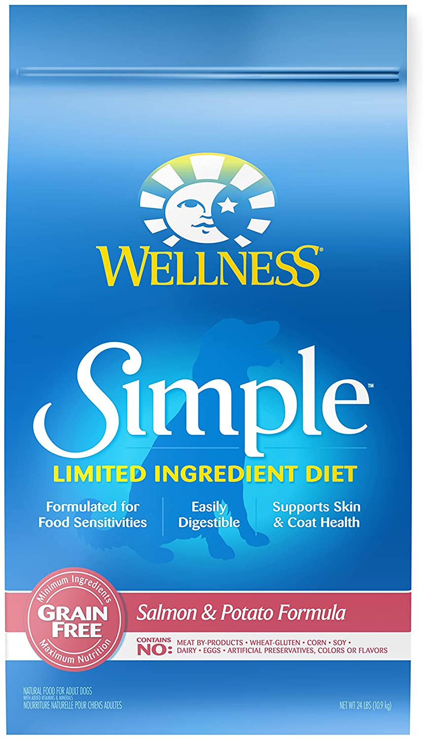 Wellness Simple Natural Grain Free Limited Ingredient Dry Dog Food, Salmon and Potato Recipe, 24-Pound Bag