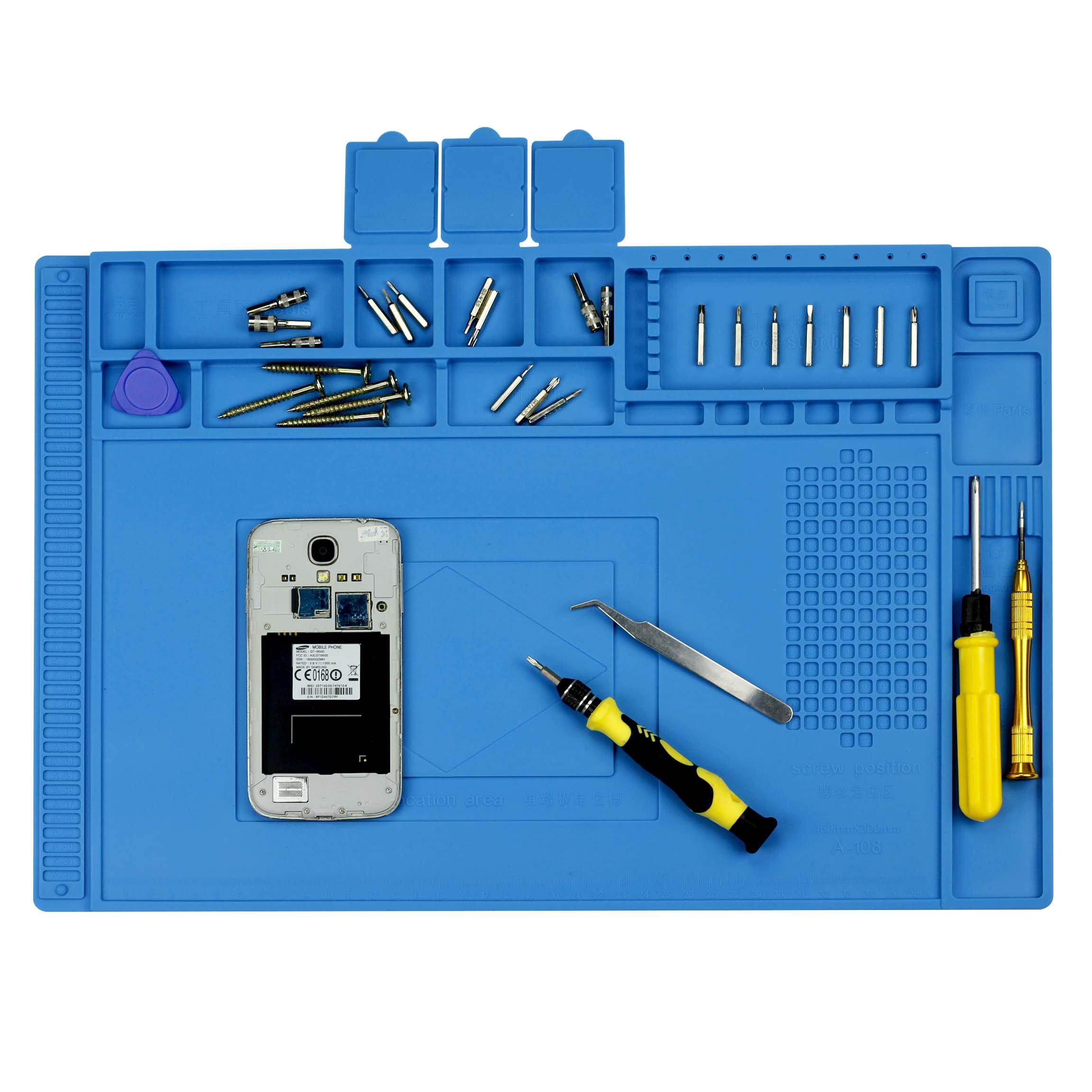 Arrontop Cellphone Repair Mat, Anti-Static Soldering Mat, Heat-resistant Repair Pad with magnetic, Heat Insulation Silicone Mat, 17.7 X 11.8 Inch Repair Tools Desk Pad. Heat-resistant 500℃.