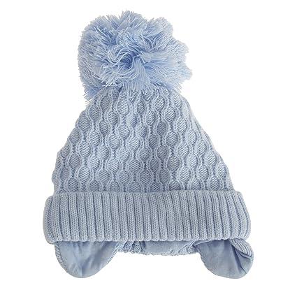 f5486cc77526 Baby Boys Crochet Winter Ear Warmer Bobble Hat (3 6 Months) (Sky ...
