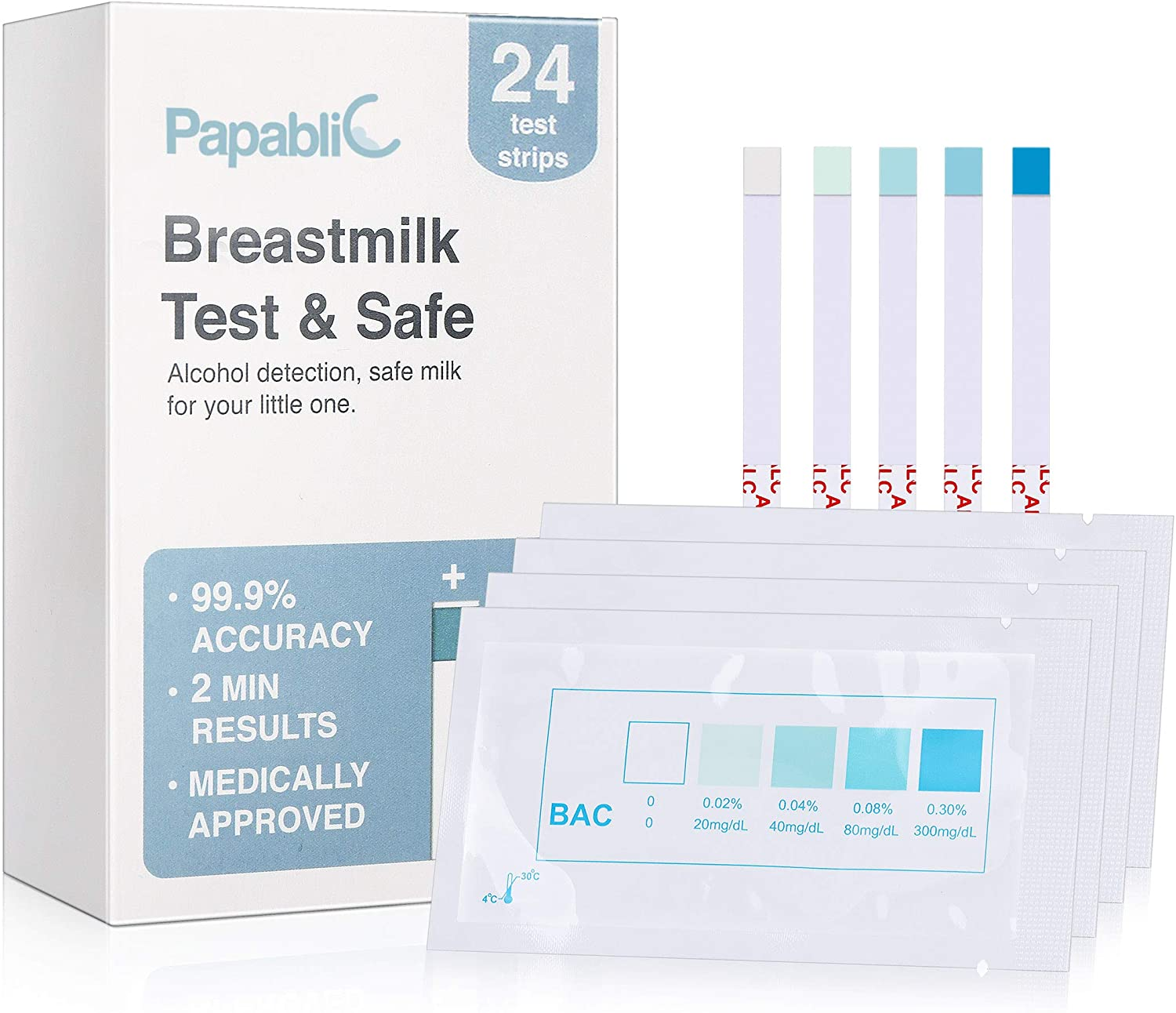 [24Count] Papablic Test & Safe Breastmilk Alcohol Test Strips, 2-min Quick & Precise Detection for Alcohol in Breastmilk, White