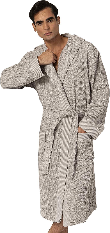 Turkish Cotton Luxury Bathrobe Mens - Hooded Big, Tall, Loose Cut Cotton Terry Cloth Robe - Long Textured , Rice Weave Trim