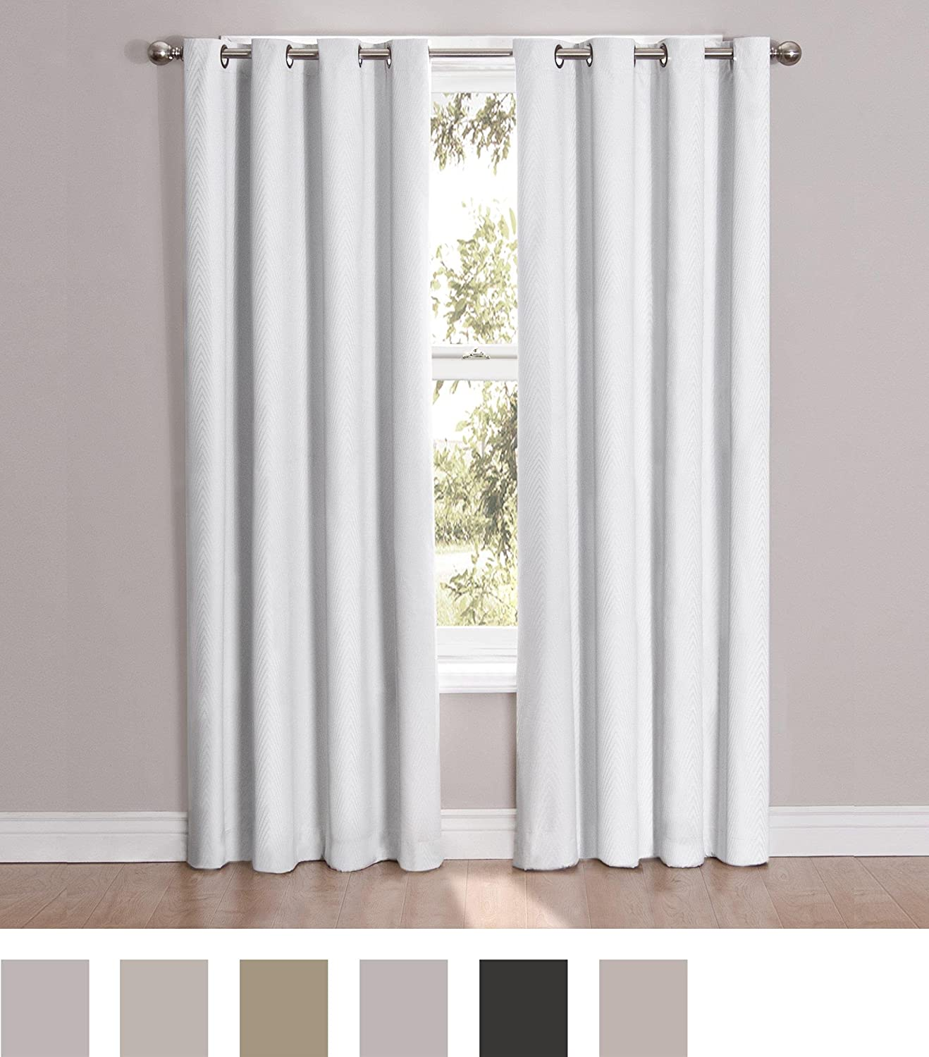 Amazon.com: Eclipse 12423052063WHI Cassidy 52-Inch by 63-Inch Blackout  Grommet Single Window Curtain Panel, White, (Reflects grey): Home & Kitchen