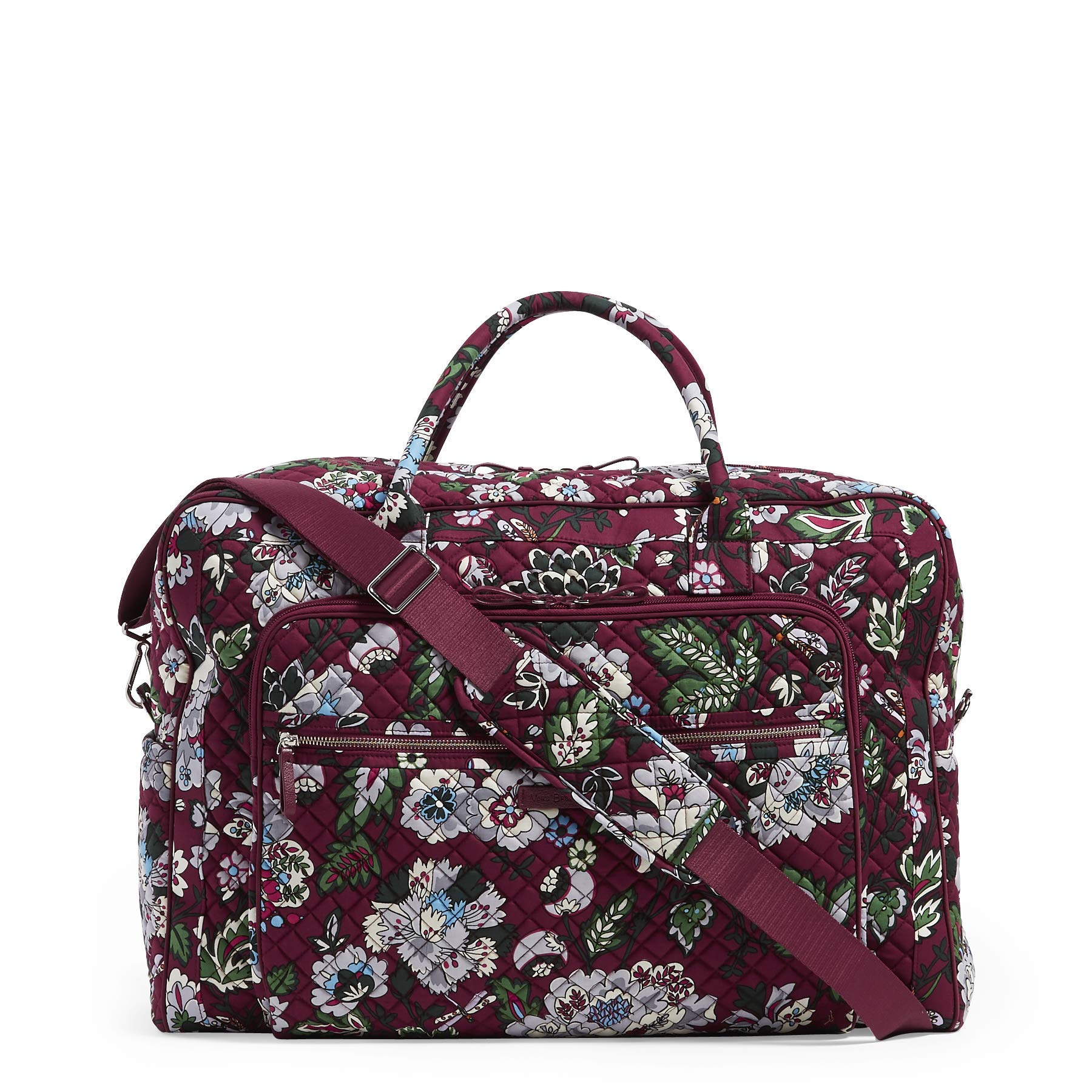 Vera Bradley Iconic Grand Weekender Travel Bag, Signature Cotton, bordeaux blooms by Vera Bradley (Image #3)