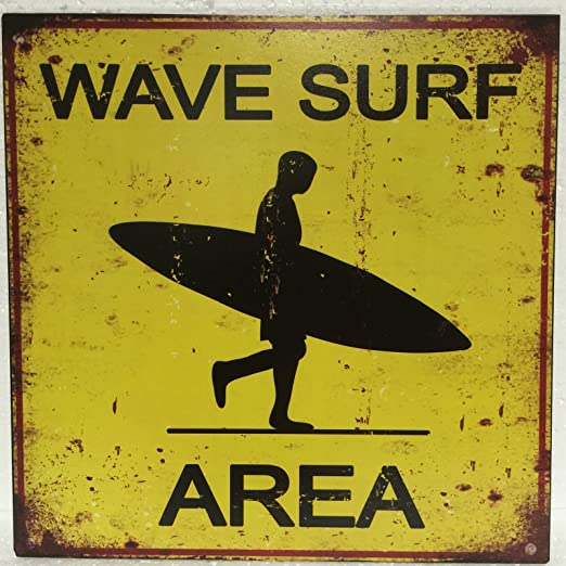 Cartel de chapa Placa Decorativa, Wave Surf Area Beach ...