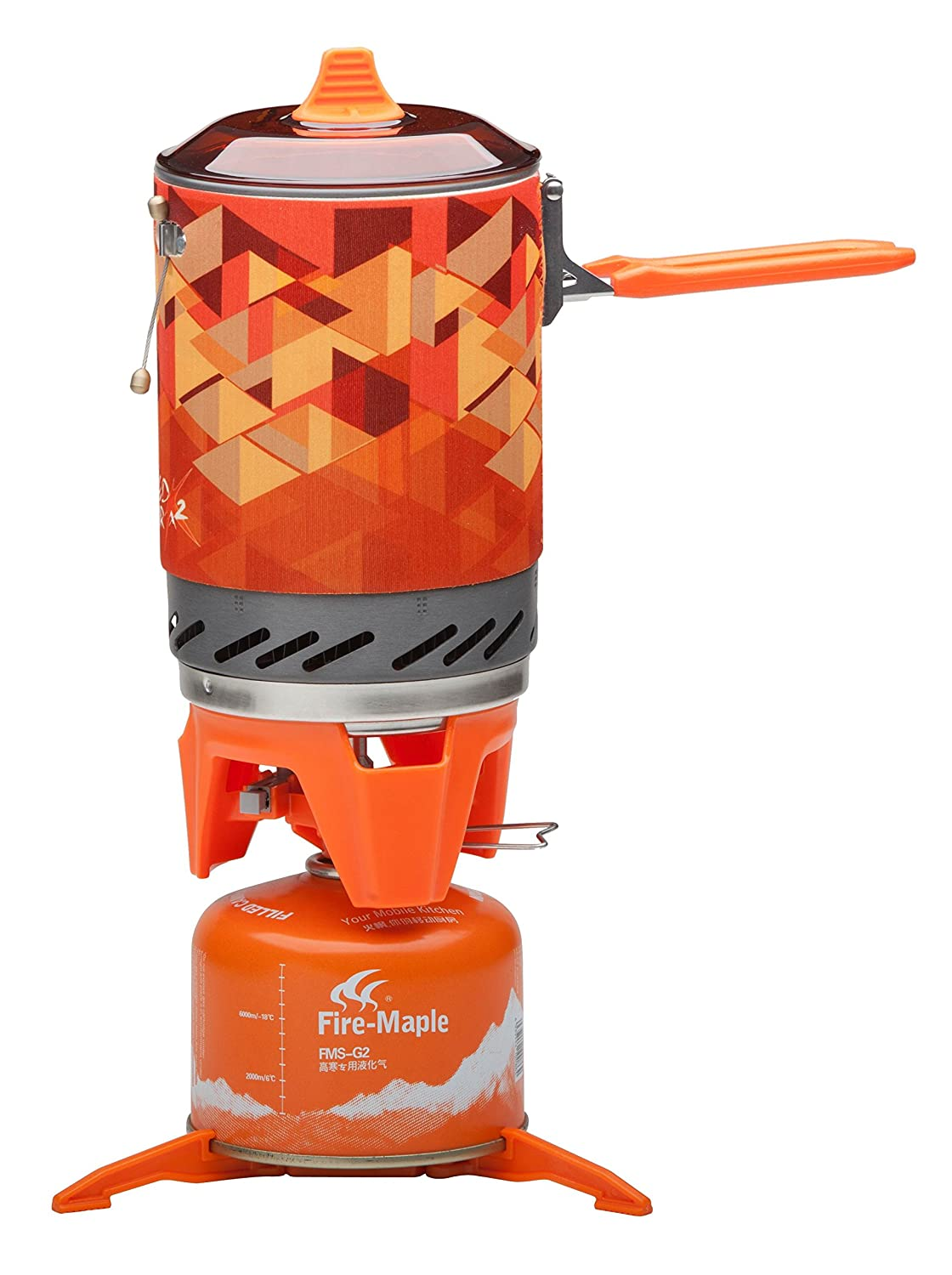 Fire-Maple Fixed-Star 2 Personal Cooking System Stove w Electric Ignition, Pot Support Propane Butane Canister Stand Jet Burner Pot System for Backpacking, Camping, Hiking, or Emergency Stove