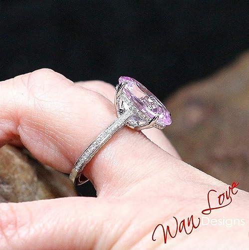 88b74f5403906 Amazon.com: Light Pink Sapphire & Diamond 3 side Shank Band Oval ...