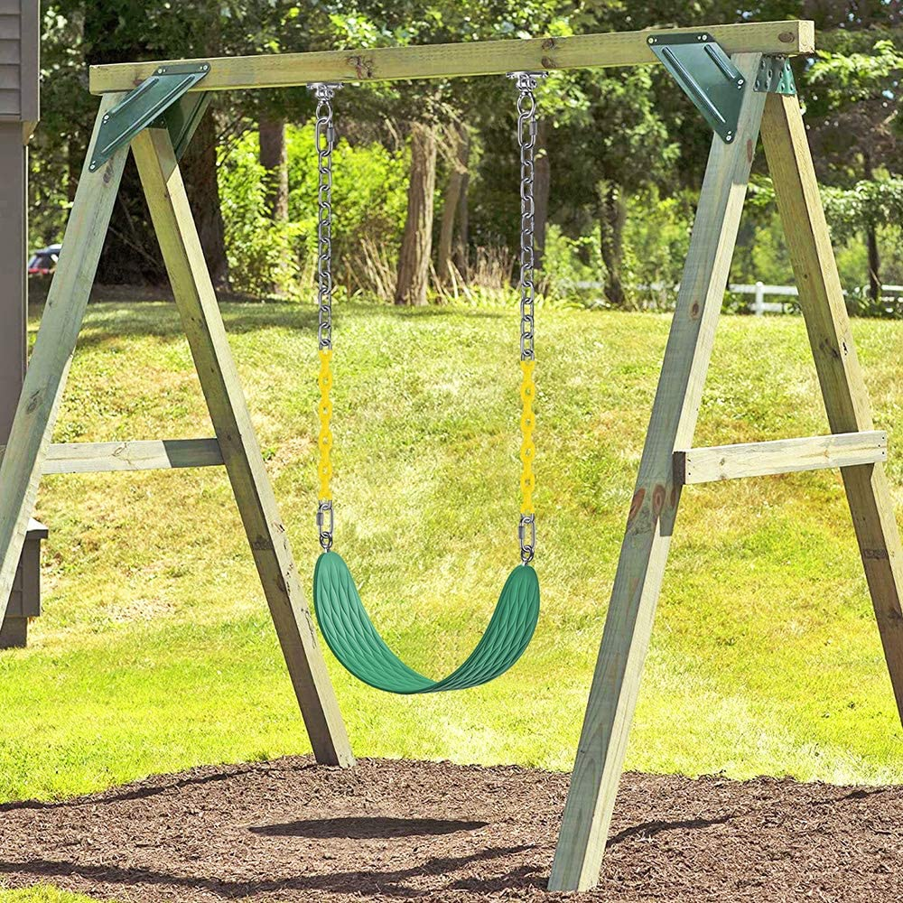Green Dolibest 2 PCS Swing Seats Heavy Duty with 66 Chain Plastic Coated and Carabiners for Easy Install,Playground Swing Set Accessories Replacement,Seat Width 27.2,600LB Capacity