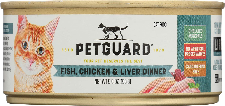 PetGuard Fish, Chicken & Liver Wet Cat Food, 5.5-oz, case of 24