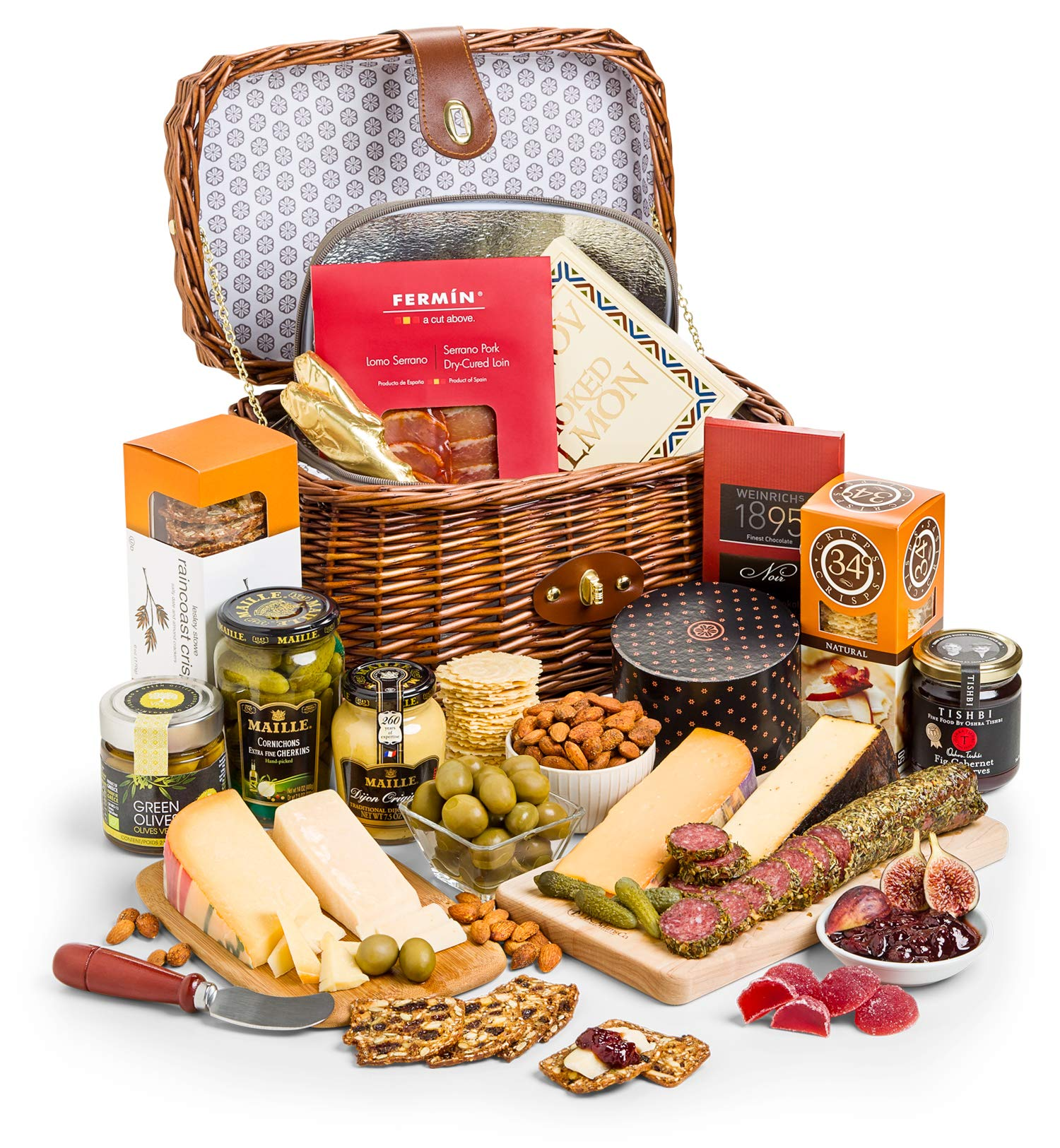 GiftTree Gourmet Charcuterie & Cheese Gift Hamper | Includes Four Award Winning Cheeses, Smoked Salmon, Spanish Charcuterie and more | Reusable Insulated Picnic Basket by GiftTree (Image #1)