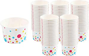 Paper Ice Cream Cups (Polka Dots Design) - 100-Count - 8 oz Disposable Dessert Bowls for Hot or Cold Food, 8-Ounce Party Supplies Treat Cups for Sundae, Frozen Yogurt, Soup, White