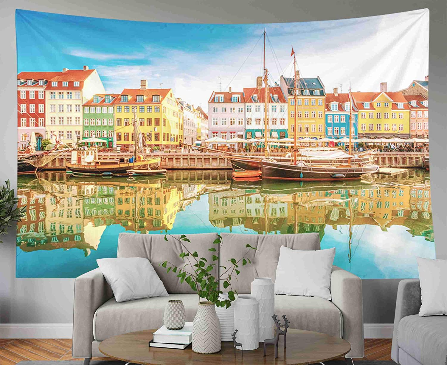 Capsceoll Tapestry for Flag Day, 60x50 Inches Tapestries Kopenhagen Wall Hanging Tapestry for Décor Dorm Tapestry Living Home