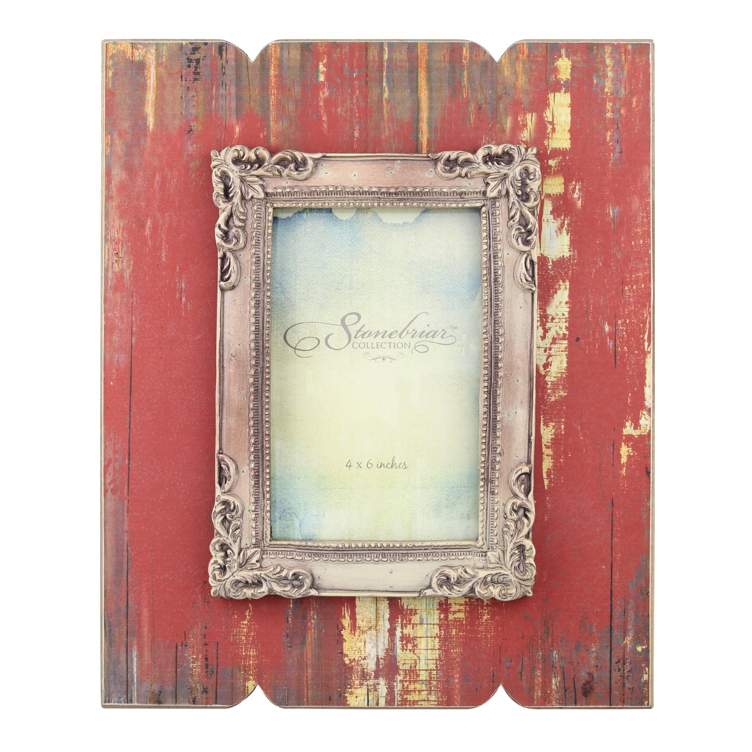 Stonebriar Distressed Red Wood Frame with Vintage Decorative Trim by Stonebriar