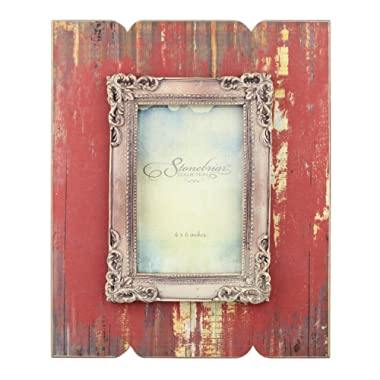 Stonebriar Distressed Red Wood Frame with Vintage Decorative Trim