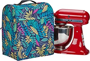 HOMEST Stand Mixer Dust Cover for KitchenAid Mixer, Fits All Tilt Head Models 4.5-5 Quart, Multi Pockets for Various Kitchen Appliance Accessories, Floral (PatentDesign)