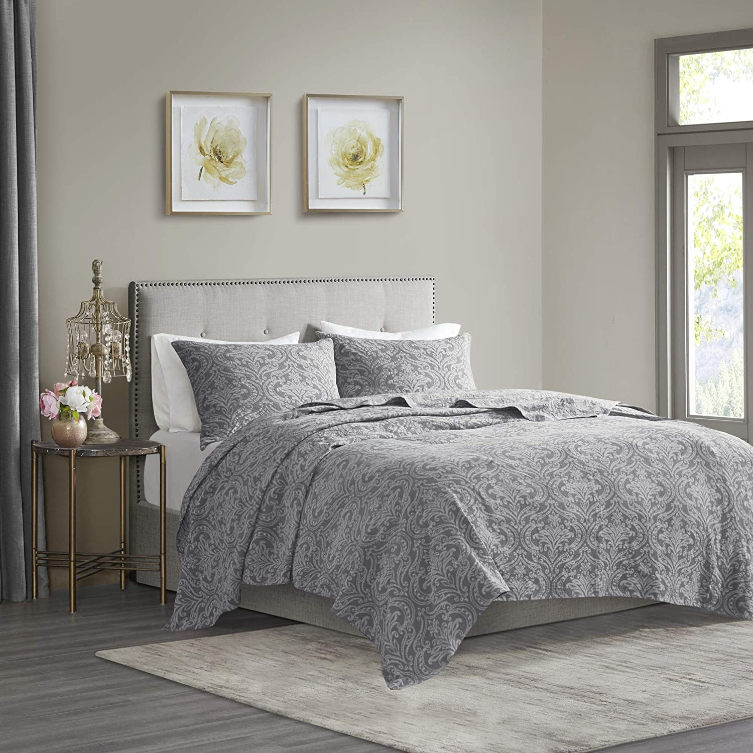 """Madison Park Chantelle 100% Cotton Quilt, Matelasse Damask Design Modern Luxe All Season Bedspread Bed Set with Matching Shams, Full/Queen(90""""x90""""), Grey 3 Piece"""