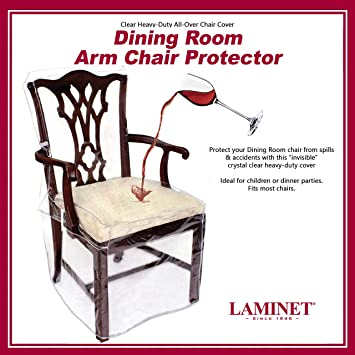 Pleasing Laminet Heavy Duty Crystal Clear Dining Chair With Arms Protectors Protects Your Dining Room Chair All Over From Dust Dirt Spills Pet Hair And Inzonedesignstudio Interior Chair Design Inzonedesignstudiocom