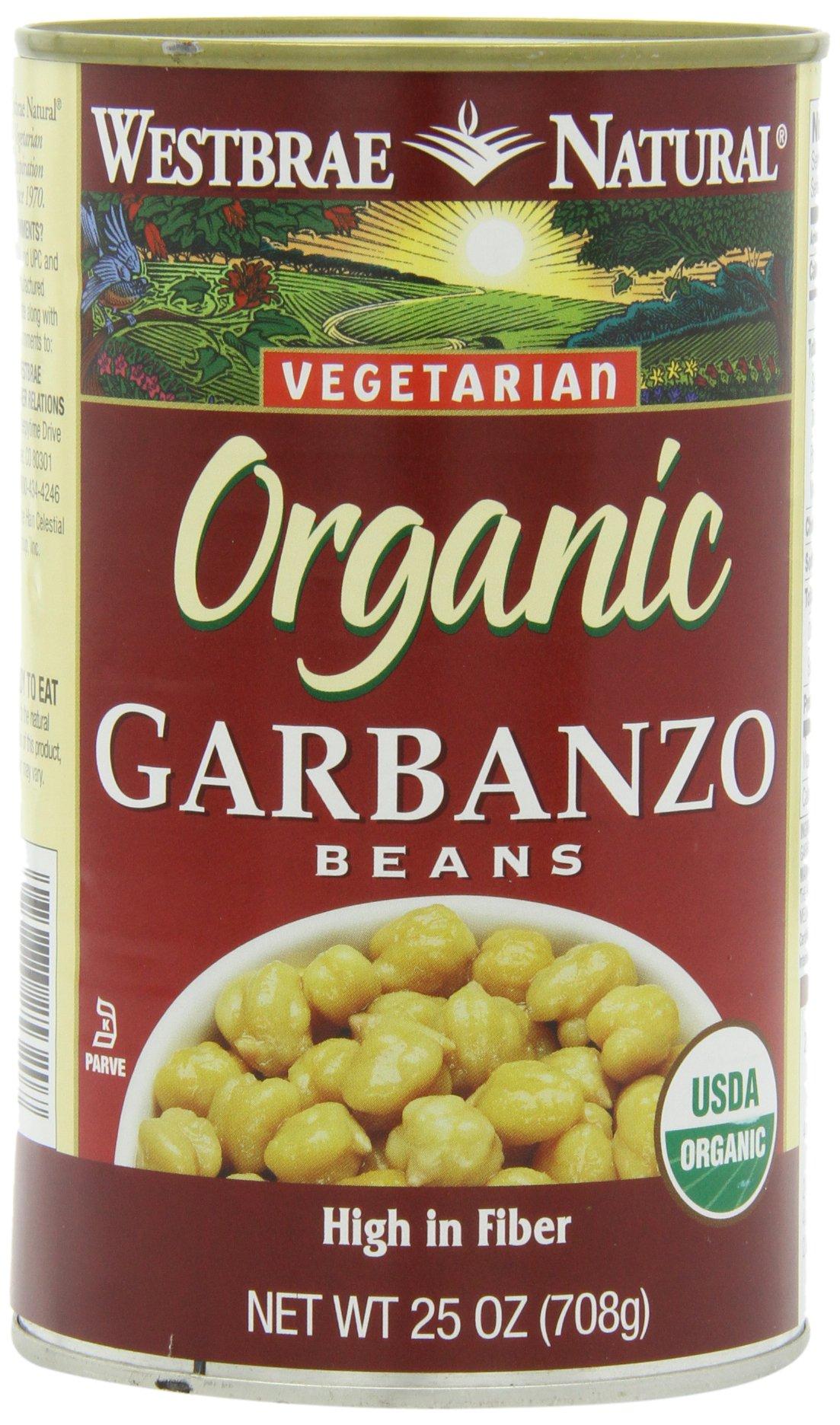 Westbrae Garbanzo Beans, Organic, 25-Ounce (Pack of 6)