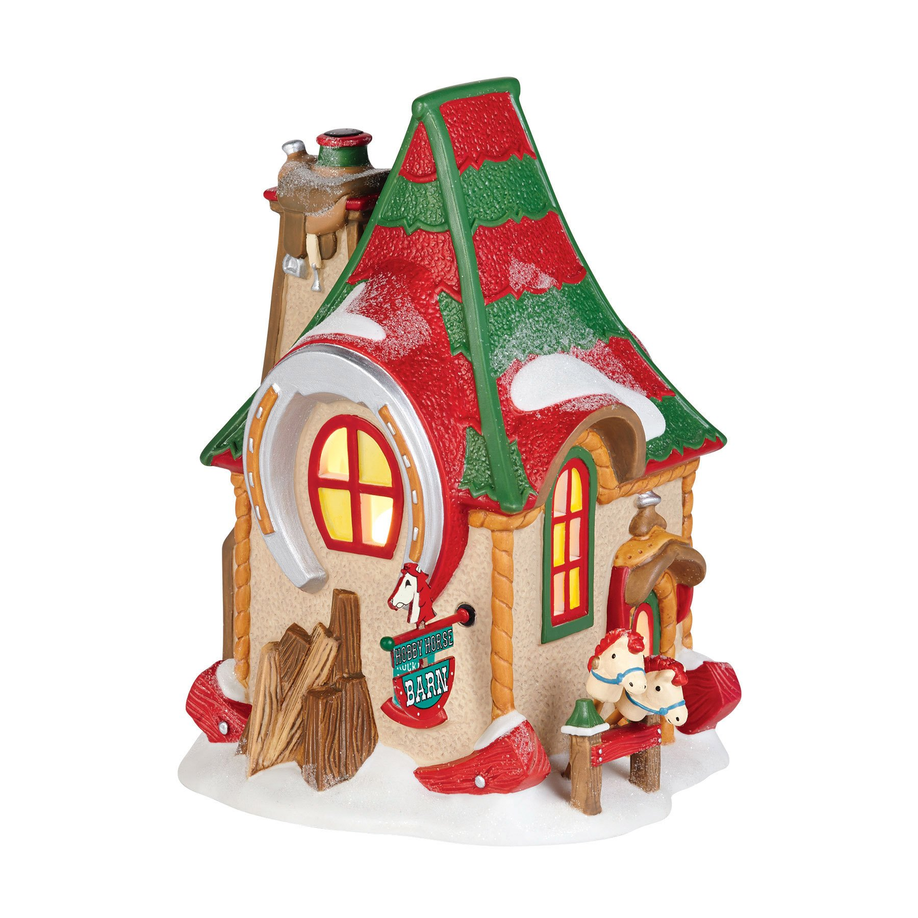 Department 56 North Pole Village Hobby Horse Barn Lit House, 6.69 inch