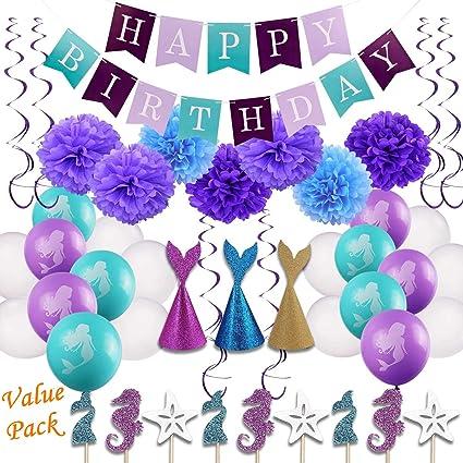 Amazon Com Birthday Banner 46pcs Little Mermaid Party Decorations