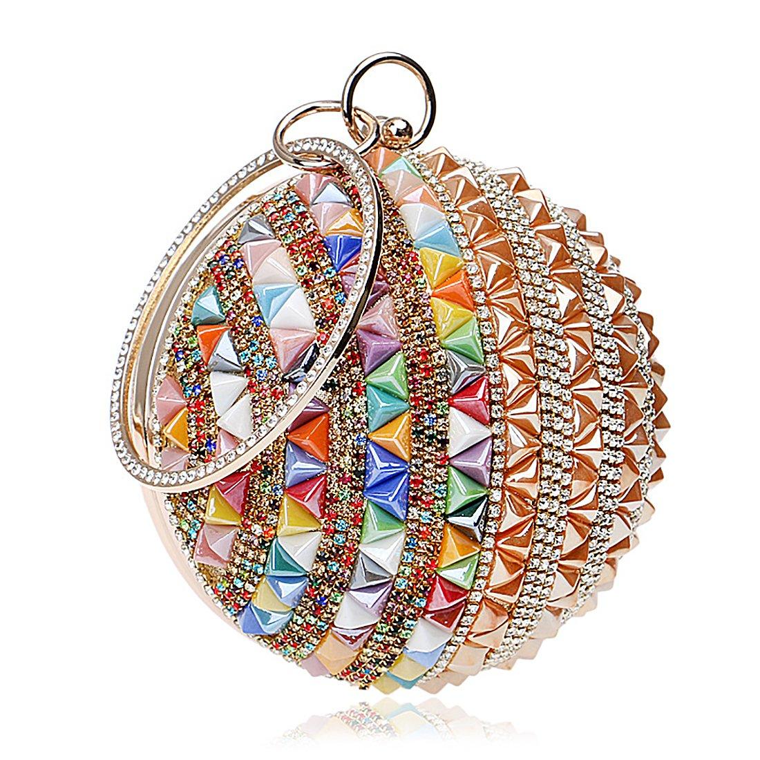 Woman Round Ball Clutch Handbag Rhinestone Ring Handle Purse Evening Bag (Multicolor 1)