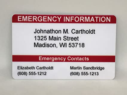 Amazon Com Emergency Contact Wallet Card Ice Card Medical Id Card