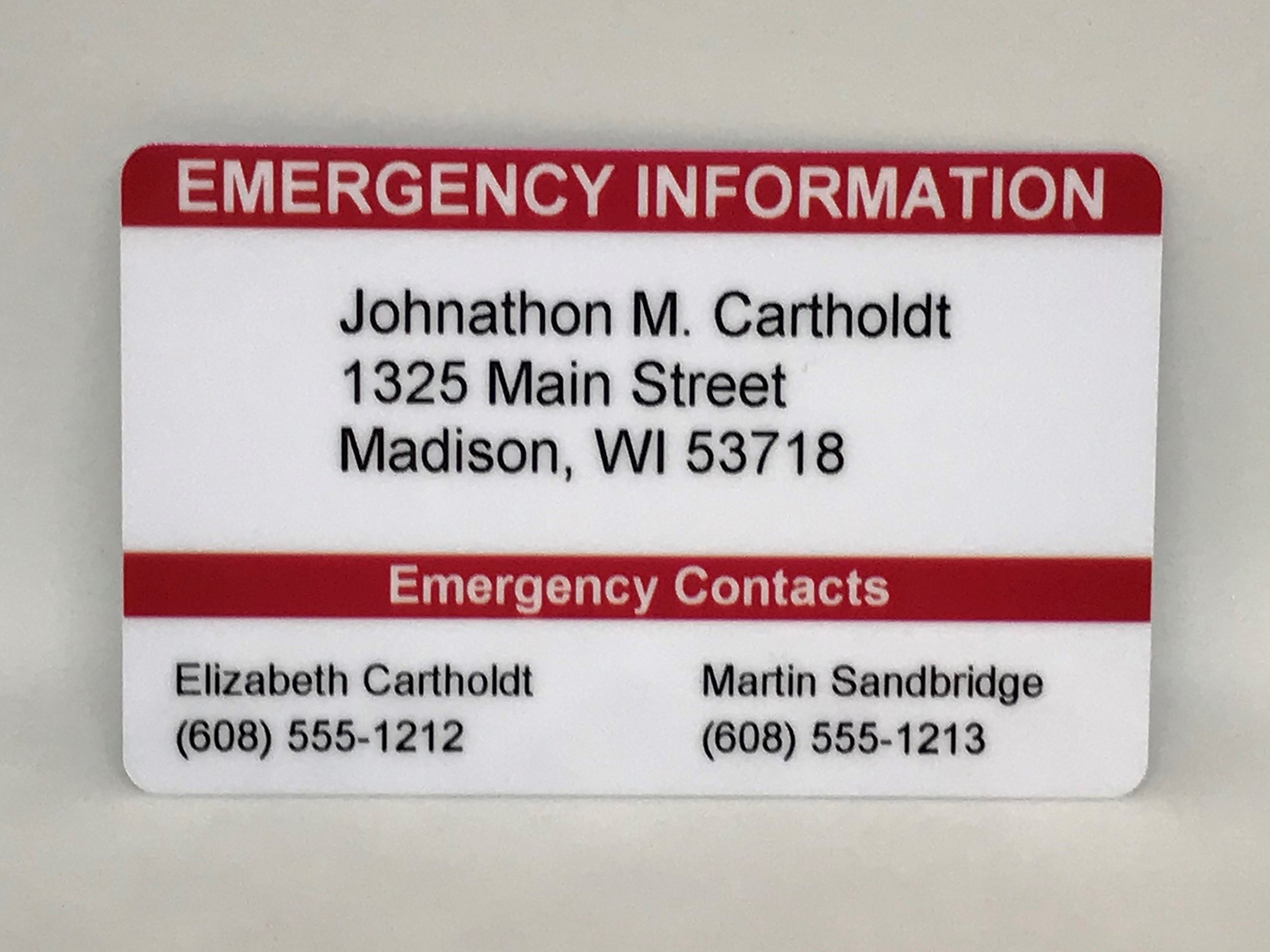 Emergency Contact Wallet Card ICE Card Medical ID Card Customizable! Emergency Identification